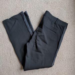 Betabrand Dress Yoga Pants black tuxedo stripe